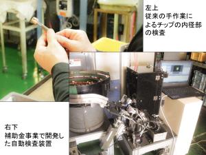 写真2 補助金事業で開発したゲージ検査の自動装置