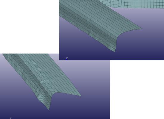フランジ曲げのバネ荷重による挙動の違い