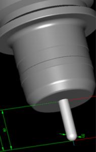 φ10ボールエンドミルにおける工具突き出し長さ